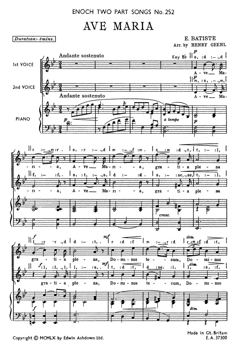 A. Edouard Batiste: Ave Maria: 2-Part Choir: Vocal Score
