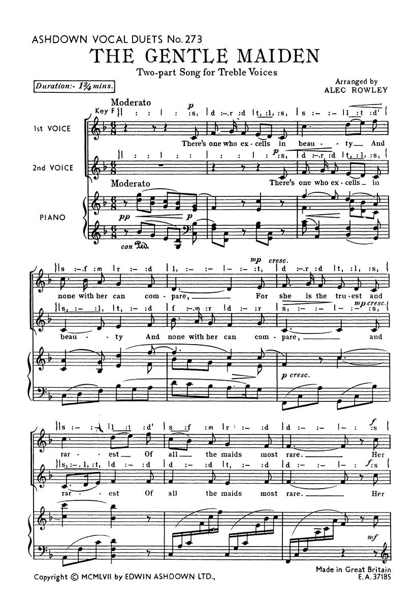 Alec Rowley: The Gentle Maiden: 2-Part Choir
