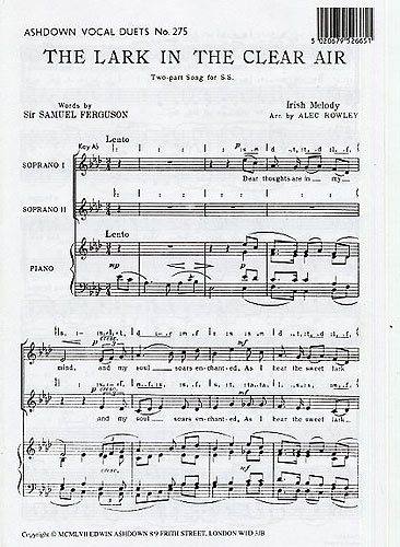 Alec Rowley: The Lark In The Clear Air: 2-Part Choir: Vocal Score