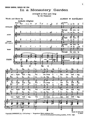 Albert Ketèlbey: In a Monastery Garden: SATB: Vocal Score