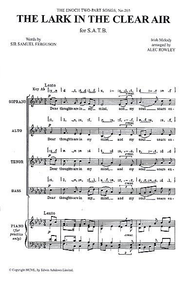 Alec Rowley: The Lark In The Clear Air: SATB: Vocal Score