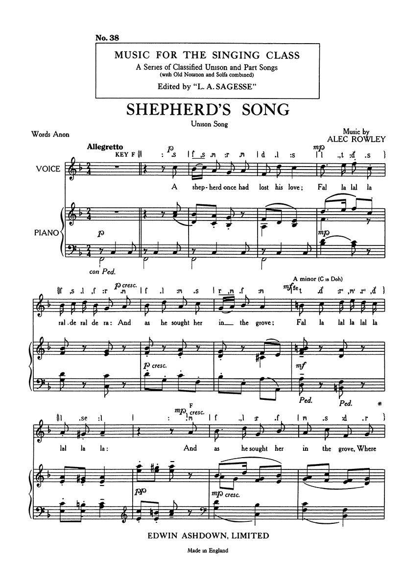 Alec Rowley: Shepherds Song: Unison Voices: Vocal Score