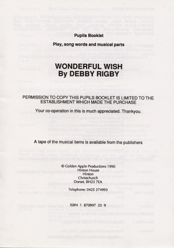 Debby Rigby: Wonderful Wish: Piano Vocal Guitar: Script
