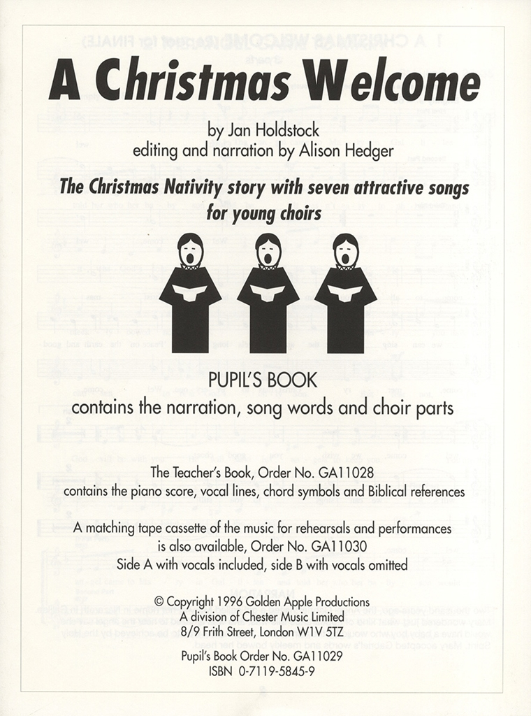 Jan Holdstock: A Christmas Welcome: Piano Vocal Guitar: Script
