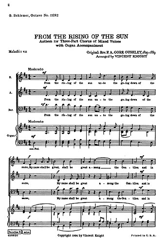 F.A. Gore Ouseley: From The Rising Of The Sun: SAB: Vocal Score