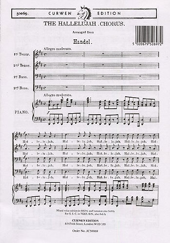 G.F. Handel: The Hallelujah Chorus (TTBB). Sheet Music for TTBB Piano Accompaniment