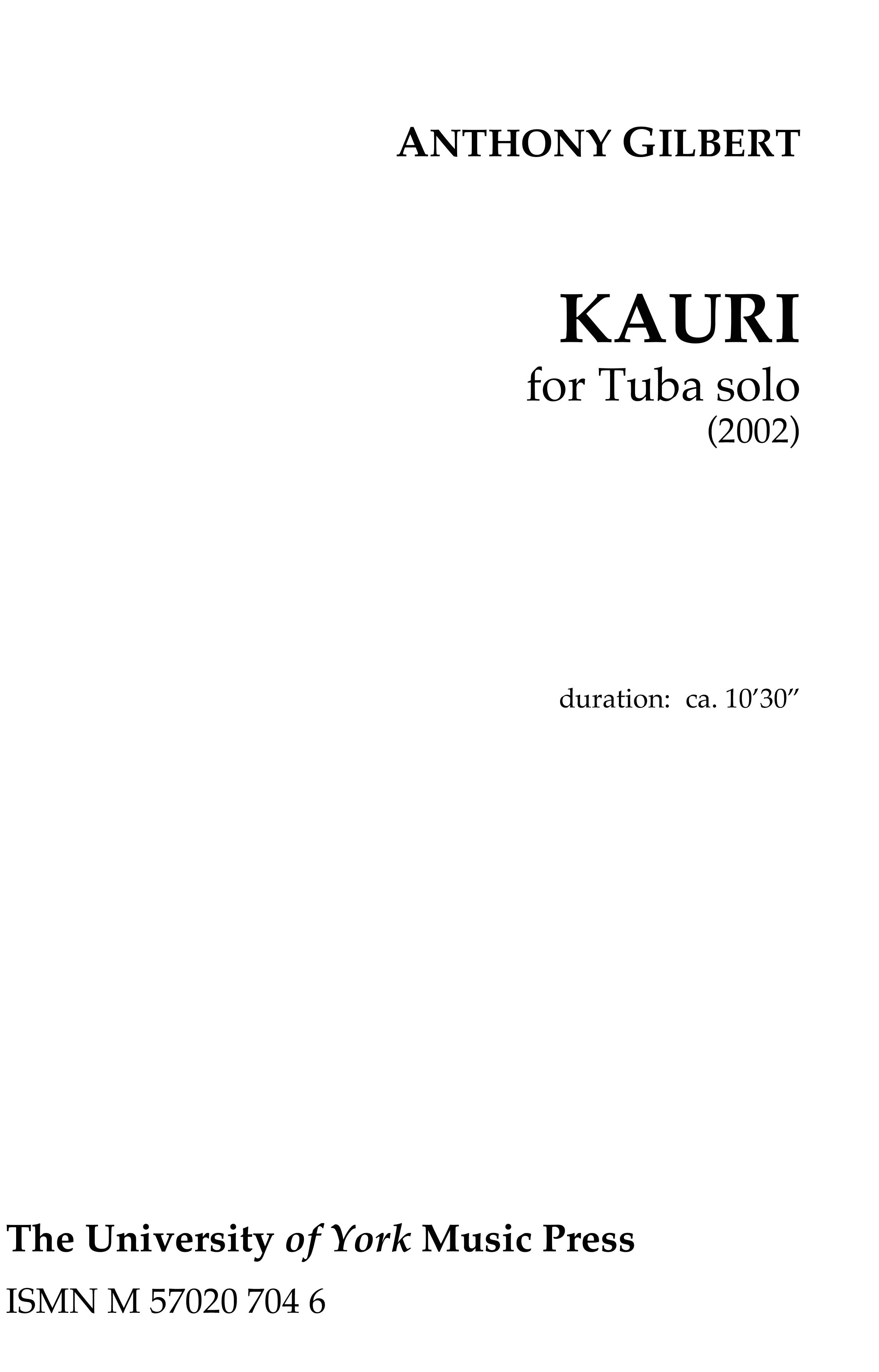 Anthony Gilbert: Kauri: Tuba: Instrumental Work