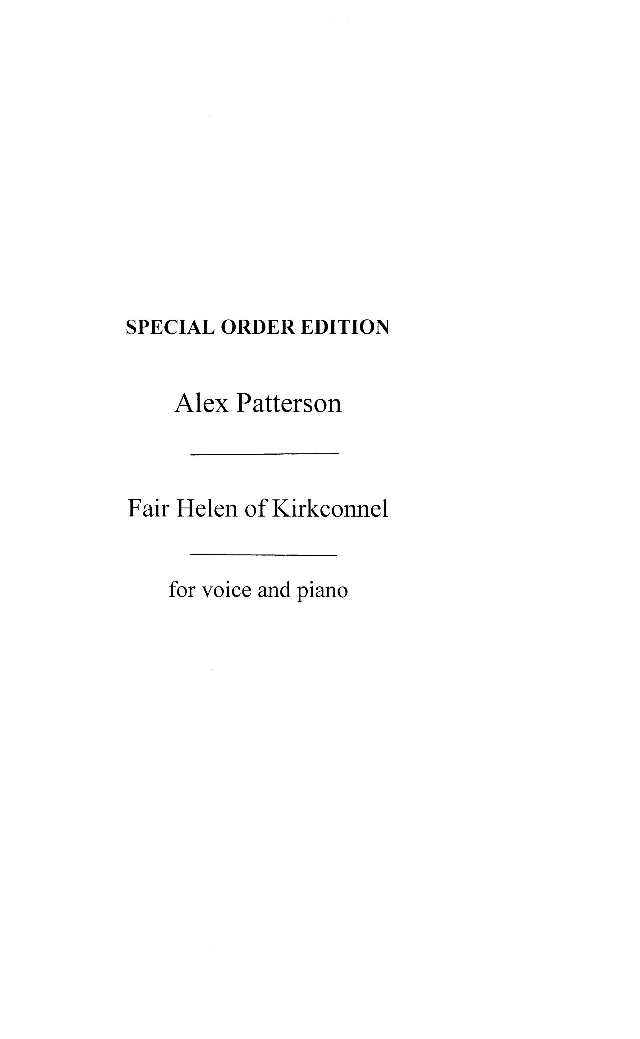 Alex Patterson: Fair Helen Of Kirkconnel: Low Voice: Vocal Work