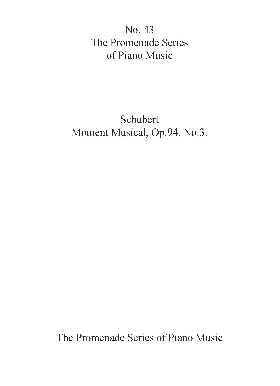 Franz Schubert: Moment Musical Op. 94 No. 3: Piano: Instrumental Work