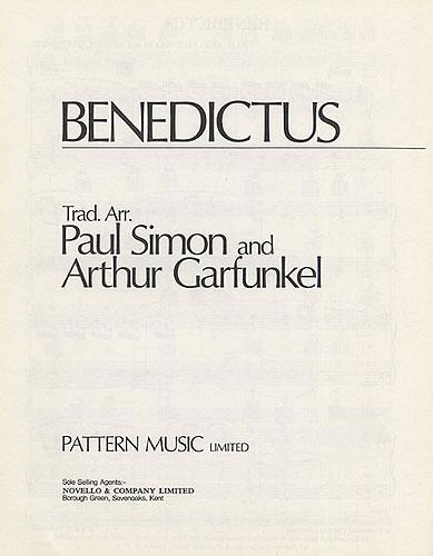 Simon & Garfunkel: Benedictus: Piano: Single Sheet