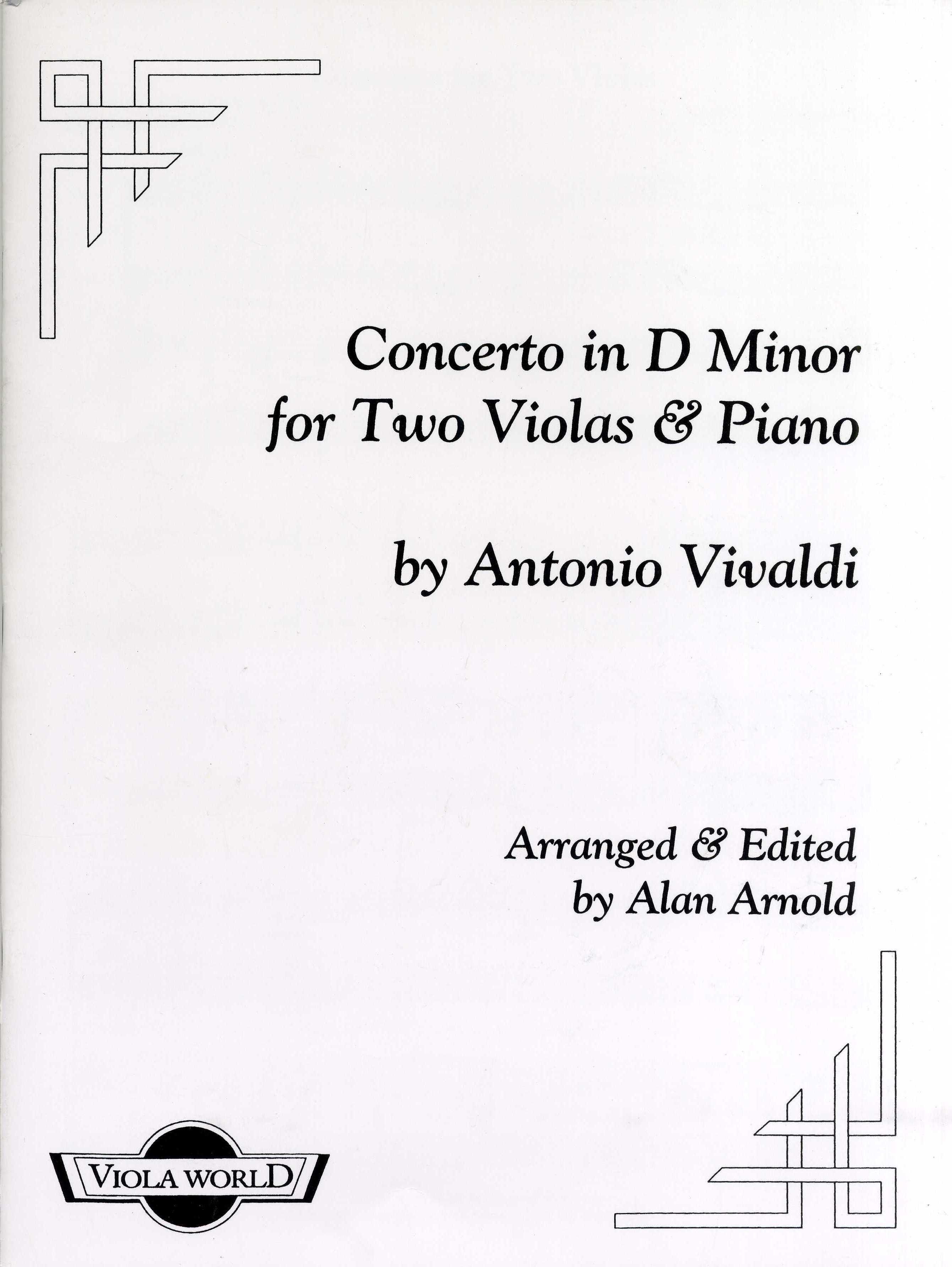 Antonio Vivaldi: Concerto In D Minor For Two Violas And Piano: Viola Duet: Score