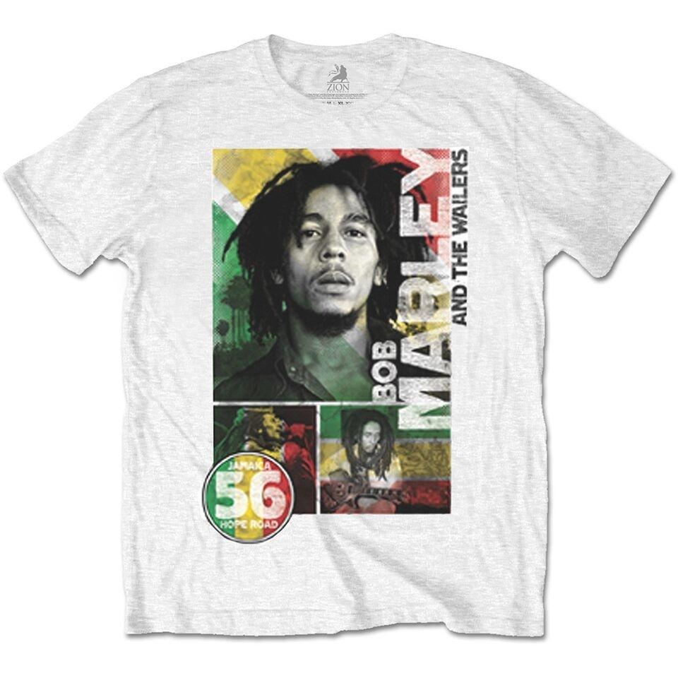 Bob Marley 56 Hope Road Rasta Men White T Shirt XL: Clothing