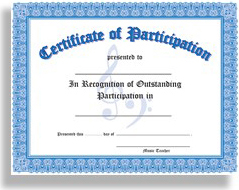 Certificate of Participation - 10 Pack (Blue): Stationery