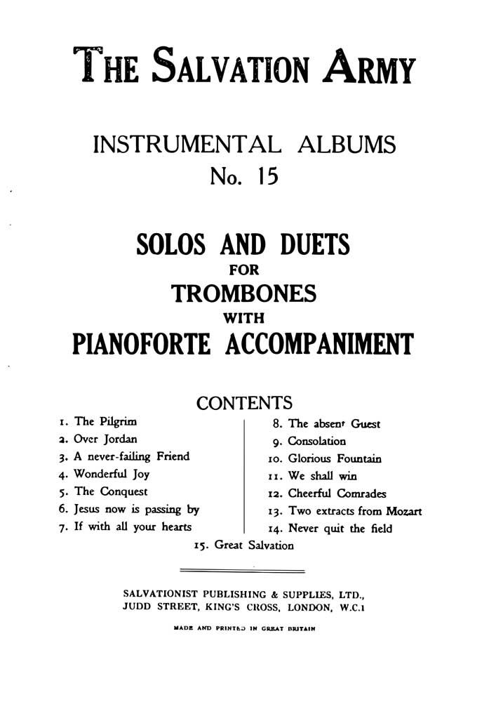Instrumental Album No. 15: Trombone: Instrumental Album