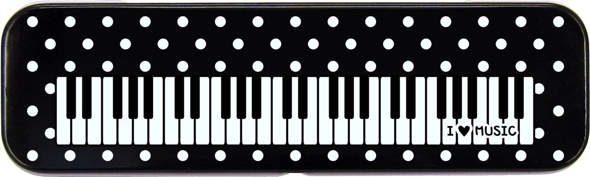 Keyboard Design Tin Pencil Case in Polka Dot