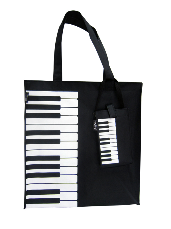 Canvas Tote Bag With Keyboard/Piano Design
