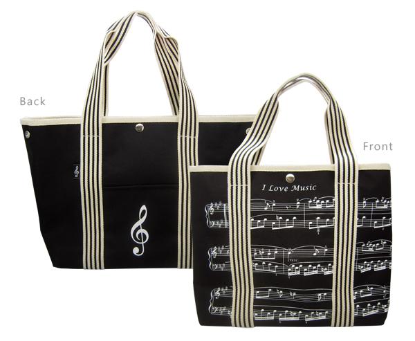 Canvas Tote Bag -Treble Clef/Sheet Music Design: Accessory