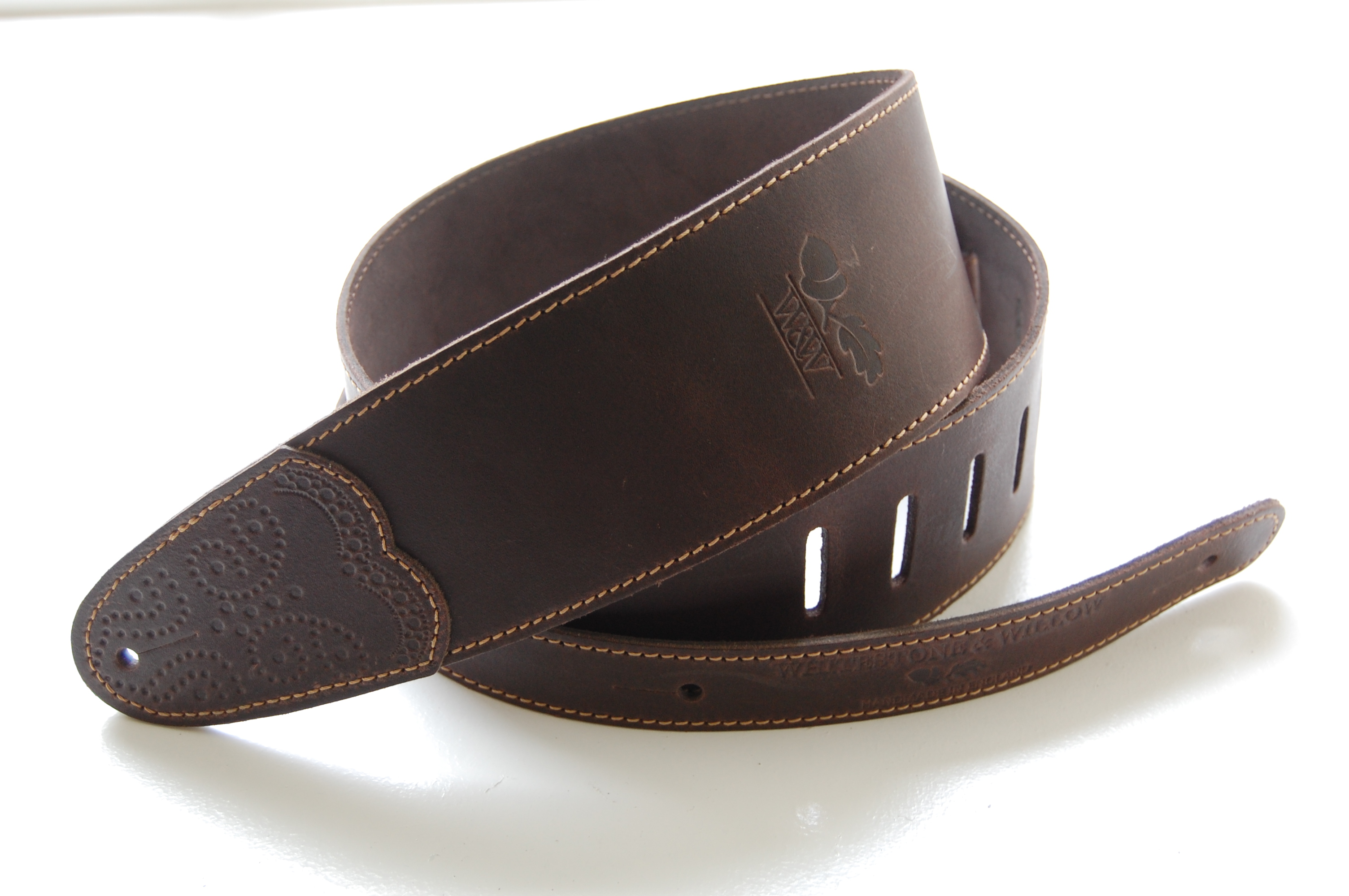 W&W Deluxe Leather Guitar Strap - Chocolate