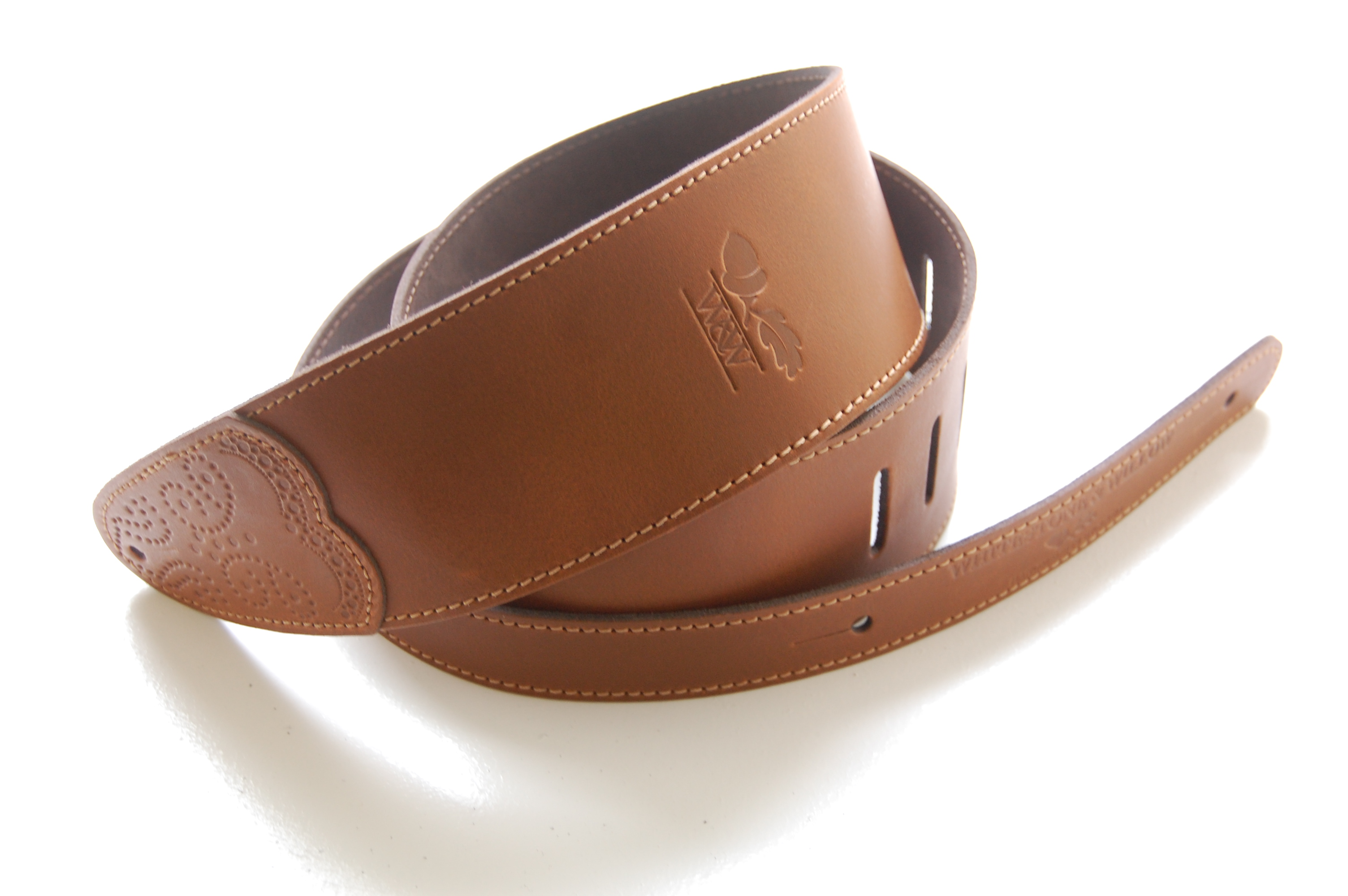 W&W Deluxe Leather Guitar Strap - Tan